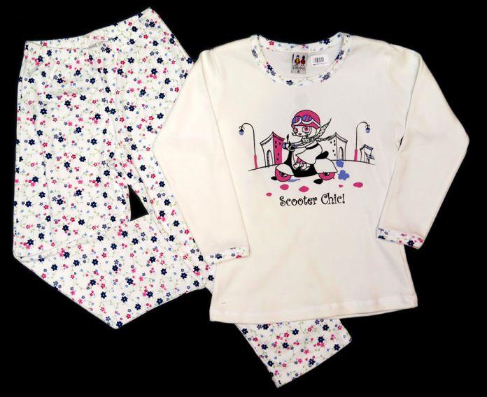 5e6e40218 Pijama de Invierno Remera Manga Larga Estampado Nena en Bicicleta y Pantalon