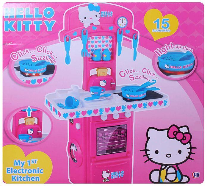 Children 39 s cocina hello kitty cocinita con luz sonido y for Utensilios de cocina hello kitty
