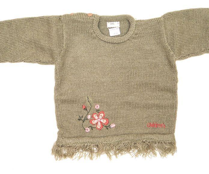 Sweater / Pullover Tejido Bordado de Flores y Flecos